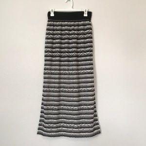 Black and white bohemian maxi skirt